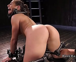 Busty slave suffers extreme device bondage