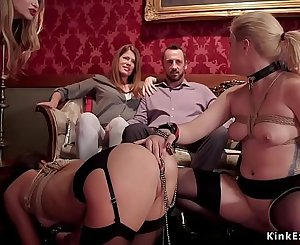Caged sexy subs in bdsm torment orgy