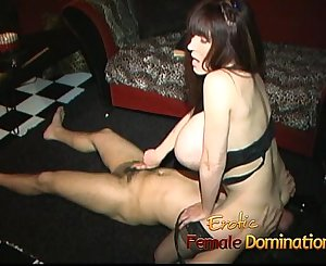 Raunchy busty bitch has her cunt ate while giving a handjob